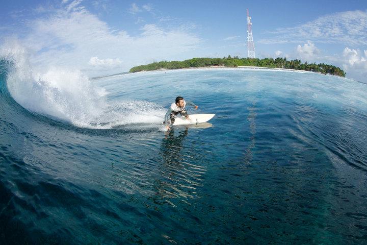 Javier Caballer (alumno de la escuela) en Maldivas