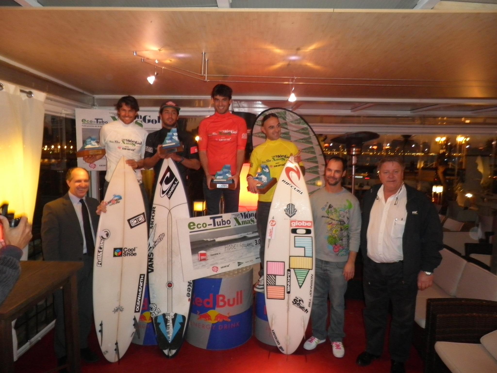 Podium final del campeonato de surf celebrado en Gijón