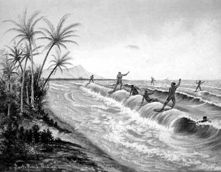 Hawaianos en el S.XVIII haciendo surf.
