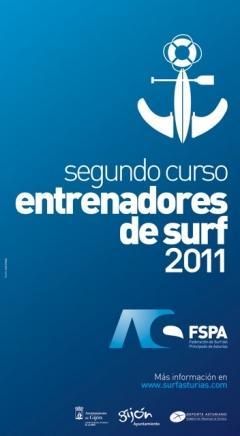Cartel de los cursos de entrenador de surf 2011 de la Federación Asturiana de Surf