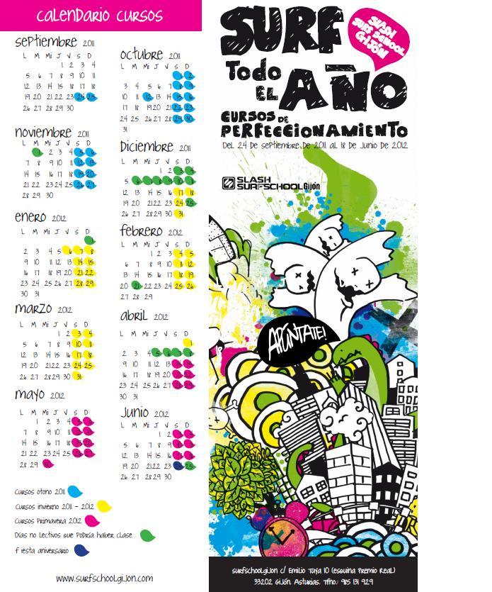 Calendario de los cursos de primavera en color fucsia.